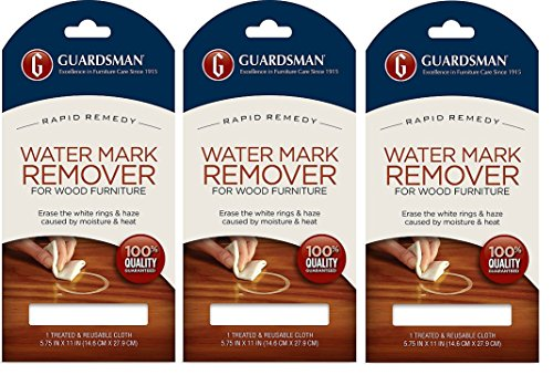 White Stain Wood Table - Guardsman Water Mark Remover Cloth - Erase White Rings & Haze Caused By Moisture and Heat - Reusable - 405200 (3-Pack)