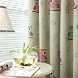 Oshide Owl Pattern Window Curtain Solid Thermal Insulated Blackout Pencil Pleat Curtains