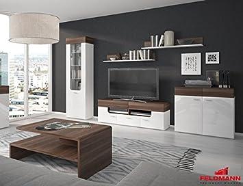 Wohnzimmer Set mit Tisch 161032 weiß matt / weiß Hochglanz ...
