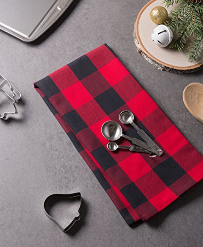 DII Cotton Buffalo Check Plaid Dish Towels, (20x30'', Set of 3) Monogrammable Oversized Kitchen Towels for Drying, Cleaning, Cooking, & Baking - Red & Black by DII (Image #4)