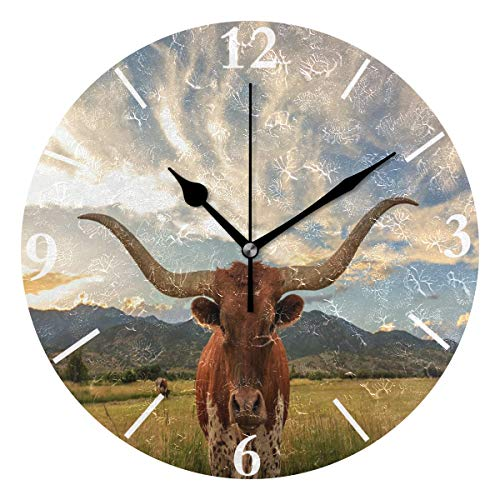 SLHFPX Wall Clock Texas Longhorn Steer Silent Non Ticking Decorative Round Digital Clocks for Home/Office/School Clock ()