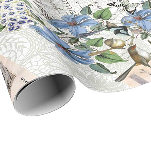 (Blue Clematis and Birds Gift Wrap - Blue Flower Wrapping Paper - Gift Paper - Craft Paper)