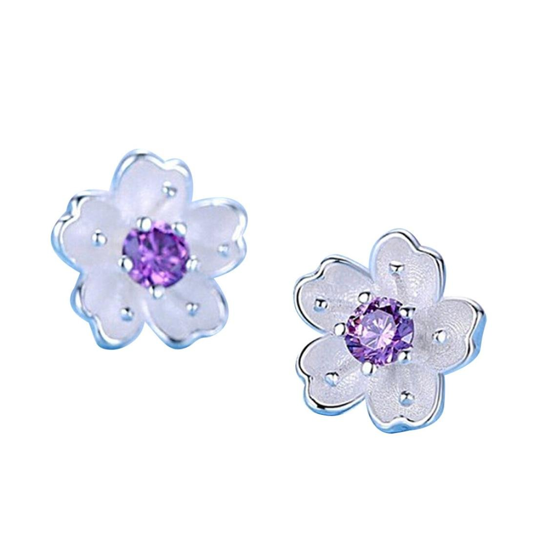 Clearance Lethez 1PC Women Sakura Floral Stud Earrings Simple Flower Ornament Jewellery for Girl