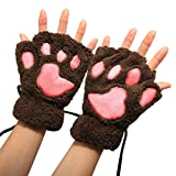 #1: Arshiner Women Bear Plush Cat Paw Claw Glove Soft Winter Gloves