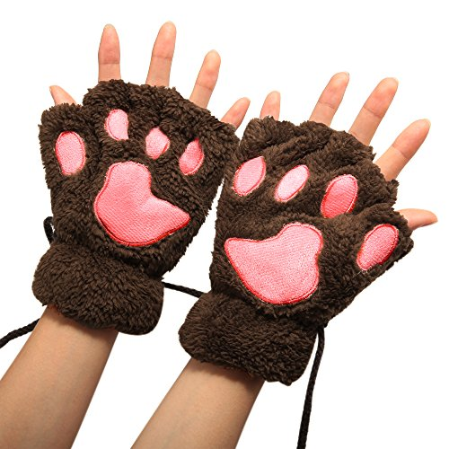 Arshiner Women Bear Plush Cat Paw Claw Glove Soft Winter Gloves (Brown-1)