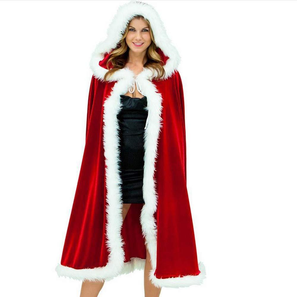 Letter54_Unterwäsche Weihnachten Frauen Plüsch Mantel Cap Kostüm Urlaubsparty Club Mantel (rot XXXL/XXXXL)