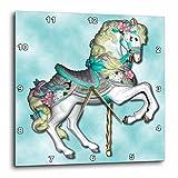 Cheap 3dRose dpp_1186_3 Carousel Horse in Blue-Wall Clock, 15 by 15-Inch