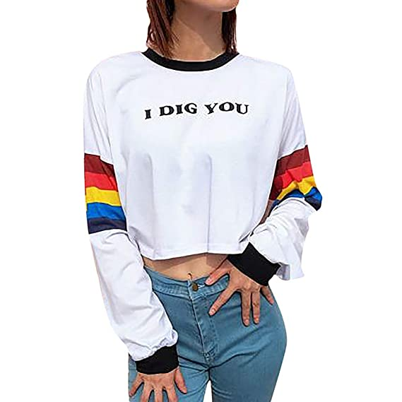 Leoy88 I Dig You Womens Long Sleeve Color Striped Top Sweatshirt at Amazon Womens Clothing store: