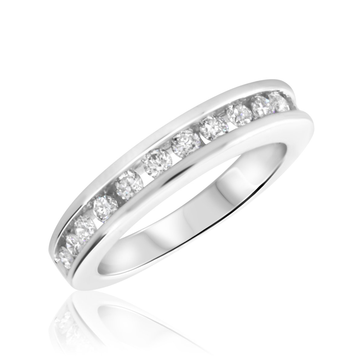 1/2 Carat T.W. Round Cut Diamond Ladies Wedding Band 14K White Gold- Size by My Trio Rings