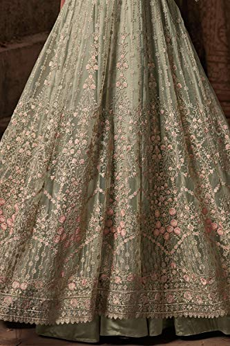 Indian wear Gown Premium Desiner with New Georgette Green Net Ethnic Pakistani Light Anarkali 51Zqnnzv