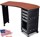 M600-E FF Econo Manicure Nail Table Curved Cherry Lam. Top Made in USA by Dina Meri