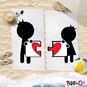 Babloo Coppia di Teli Mare Love You And Me You Complete Me -80x180- 8 spesavip