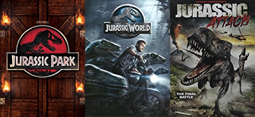 Dinosaurs Rule! Jurassic Park & Jurassic World + Jurassic Attack 3 DVD Triple Feature Movie Bundle