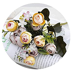 Zalin 13Heads Silk Artificial Peony Fake Flowers Small Rose Tea Buds Fleur artificielles for Home Wedding Decoration Flower, E,5 Branches 13 Heads 58