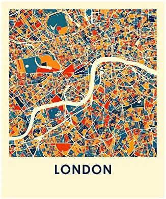 London England City Map.I Like Maps London England Full Color City Map Print Poster 11 X