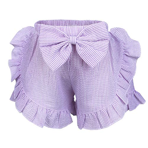 (MEETWARM Toddler Baby Girls Double Ruffle Seersucker Shorts Bloomers Cute Bottoms with Bowknot Purple 2T)