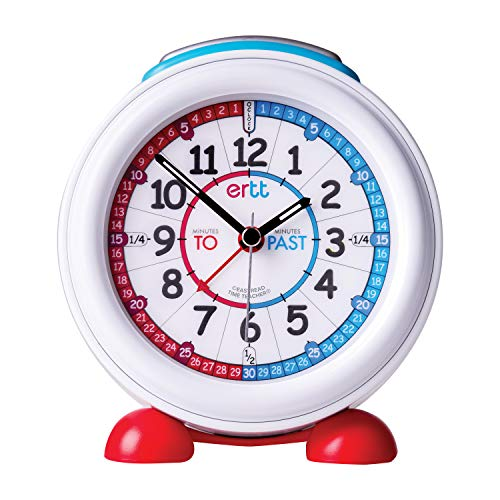 EasyRead Time Teacher Children's Alarm Clock with Night Light, 'Minutes Past & Minutes to' Red & Blue Clock - Faces Clock Alarm