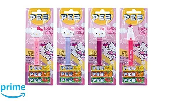 PEZ set de dispensadores Hello Kitty (4 dispensadores con 3 recargas de caramelos PEZ de 8,5g c/u) + 2 paquetes de recargas (8 recargas de caramelos PEZ de ...