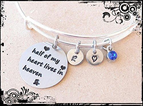 Half of my heart lives in heaven bracelet//keychain