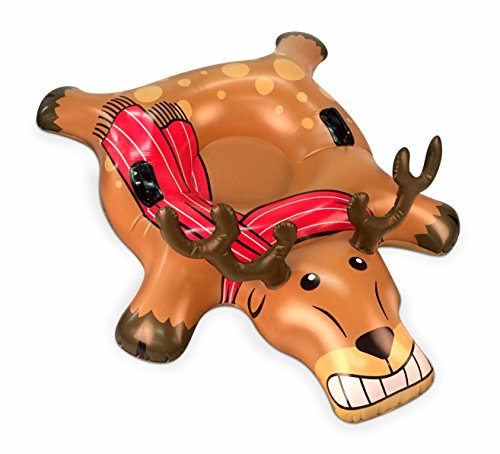 BigMouth Inc. Reindeer Snow Tube - 4 ft. Wide Inflatable Snow Tube with Easy Grip Handles, Made of Durable Vinyl with Welded Seams - Makes a Great Gift