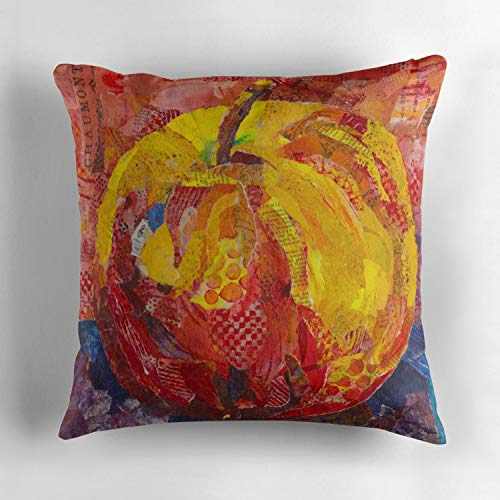 Square 18X18 inch Decorative Throw Pillow Case Cover Cushion Cover Home Decor Cotton (Red Apple Ready to Bite in Mixed Media Collage)