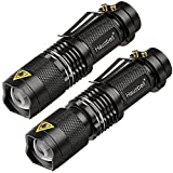 #1: Hausbell 7W Ultra Bright Mini LED Flashlight Tactical Flashlight (2 Pack)