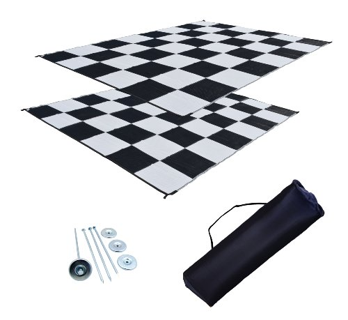 RV Patio Mat Awning Mat Outdoor Rug Trailer Mat Complete Kit 9x12 (Black and White Checkers)