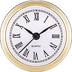 Hicarer 2.4 Inch (61 mm) Quartz Clock Fit-up/Insert with Roman Numeral, Quartz Movement (Gold Rim)