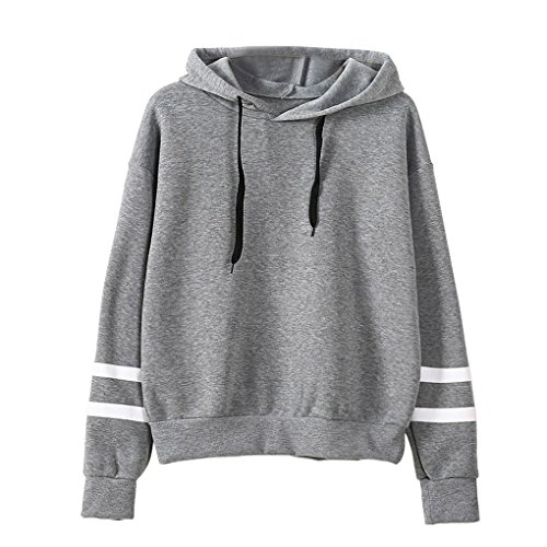 Women Girl Long Sleeve Hoodie Sweatshirt Simple Style Solid Color Hooded Pullover Tops Casual Blouse Sweater for Fall Winter, Gray, L (Bust: 112cm /44.1 (Drawstring Womens Sweater)