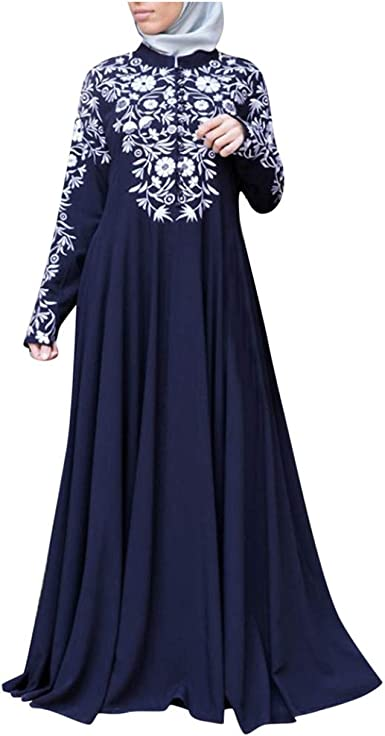Muslim manches longues femmes robe arabe Couleur unie en vrac Robe Bleu