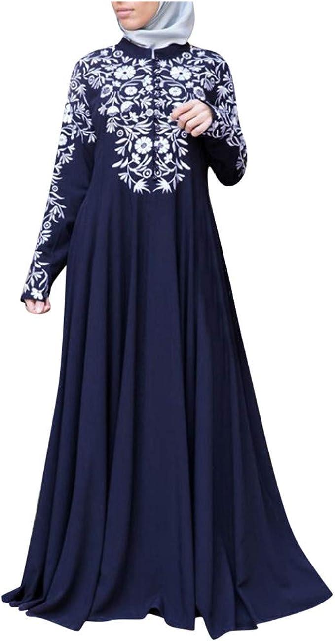 Geilisungren Damen Muslim Abaya Dubai Muslimische Lange Kleid Kleider Arab Arabisch Indien Turkisch Kaftan Robe Frauen Langarm Blumendruck Maxikleid Amazon De Bekleidung