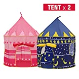Cheap Moombike Prince and Princess Castle Play House Pop Up Play Tent with a Carrying Case, Foldable Pink and Blue Tent Toy for Boys and Girls Kids Indoor Outdoor