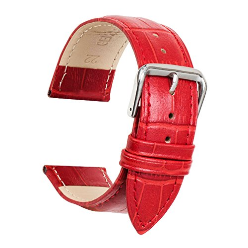 Ullchro Watch Strap Replacement Genuine Leather Watch Band Stitched Edging Bamboo Grain - 12, 14, 16, 18, 19, 20, 21, 22, 24 mm Watch Bracelet with Stainless Steel Silver Buckle (19mm, Red)