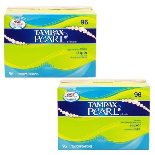 2 Pack Tampax Pearl Plastic Super Absorbency Plastic Tampons 96 Count Box by Tampax