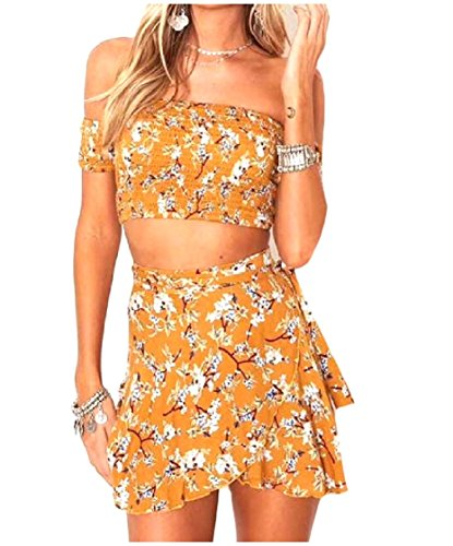 Coolred Casual Off Floral Summer Dresses Shoulder Holiday Yellow Sexy Women Printing Two Pieces BgUrBq
