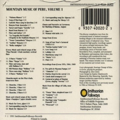 Mountain Music of Peru, Vol. 1 by Smithsonian Folkways Recordings (Image #1)