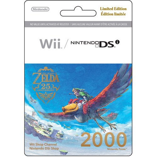 Nintendo Wii 2000 Points Card - Nintendo 2000 Points Card (DSi or Wii) - Legend of Zelda 25th Anniversary Limited Edition Print