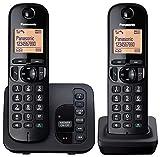 Panasonic KX-TGC222EB Digital Cordless Phone with LCD Display - Black (Pack of 2)