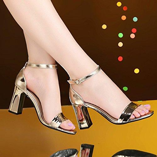 Golden de alto tacón verano Palabra de zapatos de Sandalias Sandalias Sandalias de con con mujer VIVIOO medio de tacón para Hebilla abierto alto tacón Zapatos tacón de tacón alto 8cm gruesa mujer nRAqX
