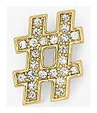 Michael Kors Pavé Gold-Tone Hashtag Pin