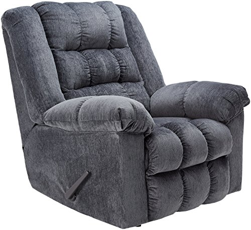 Ashley Furniture Signature Design - Ludden Recliner - Manual Rocker - Blue ()