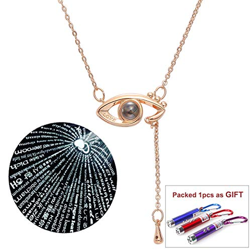 Enfianced Rose Gold Plated I Love You in The Eye Pendant Necklace