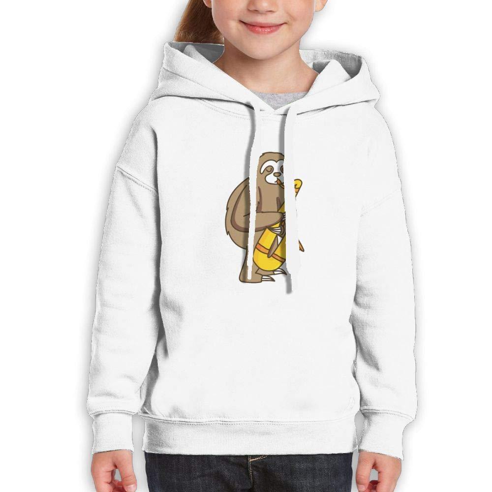 Qiop Nee Cute Sloth Jazz Saxophonist Unisex Hooded Print Long Sleeve Sweatshirt Girl's