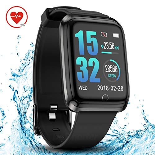 DoSmarter Smartwatch IP68 Waterproof Running Fitness Activity Tracker Watch with 1.3 Inches Color Screen, Heart Rate Monitor Wrist Watches with Sleep Tracker for Woman Man Kids (Heart Rate Monitor Tomtom)