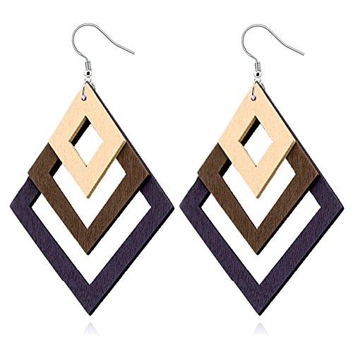 ALoveSoul Geometric Wooden Earrings for Women - Diamond-shaped Stacked Wood Hollow Drop Hook Earrings