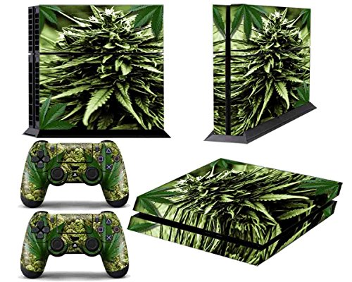 PS4 Designer Skin for Sony PlayStation 4 Console System plus Two(2) Decals for: PS4 Dualshock Controller - Skunk Bud