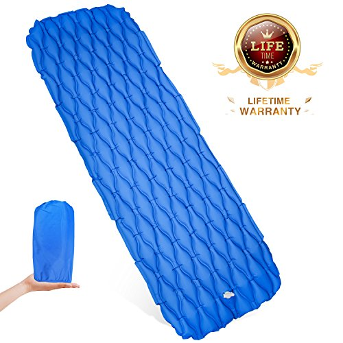 WDLHQC Ultralight Air Sleeping Pad,Inflatable Camping Mat for Backpacking,Camping and Traveling – Waterproof Fabric Comfortable & Lightweight Air Cells Design – Blue Review