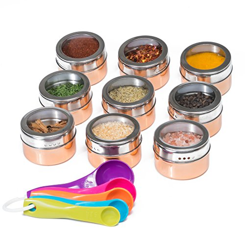 Stainless Steel Magnetic Spice Jars – Bonus Measuring Spoon Set – Airtight Kitchen Storage Containers – Stack on Fridge to Save Counter & Cupboard Space – 9pc Organizers in Gold (Tin Storage Kitchen)