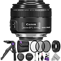 Canon EF-S 35mm f/2.8 Macro IS STM Lens w/ Essential Photo Bundle - Includes: Altura Photo UV-CPL-ND4, Mini Tripod, Camera Cleaning Set