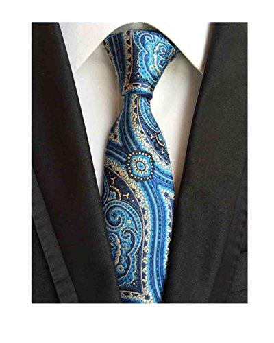 da23783f5d60 MENDENG New Classic Plaids Check Baby Blue Jacquard Woven Silk Men's Tie  Necktie